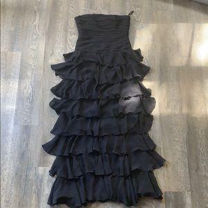 Strapless Black Ruffles Dress